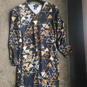 Long Sleeved  Navy Geometric Patterned Knit Dress